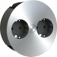 Prise TWIST rétractable 2xCEE7/3 2,0m AEH acier inoxydable-Optik