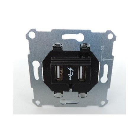 Prise USB double encastré recharge 2 sorties 5V CC 1400mA sans plaque POWER SUPPLY INSERT 1 MERTEN ARTEC SCHNEIDER MTN4366-0000