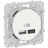 Prise USB - Odace - Chargeur double USB - Types A et C - Blanc