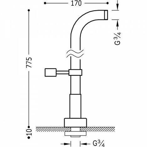 Prises d'eau au niveau du sol de la baignoire 2 unités avec support douche rotatif - TRES 161194