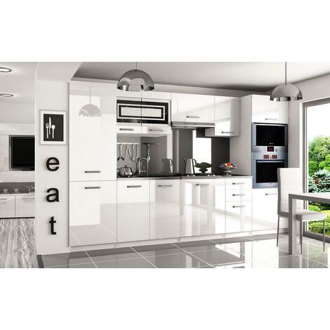 PRISMA | Cuisine Complète Modulaire + Linéaire L 300cm 8 pcs | Plan de travail INCLUS | Ensemble armoires cuisine | Blanc/Gris - Blanc/Gris