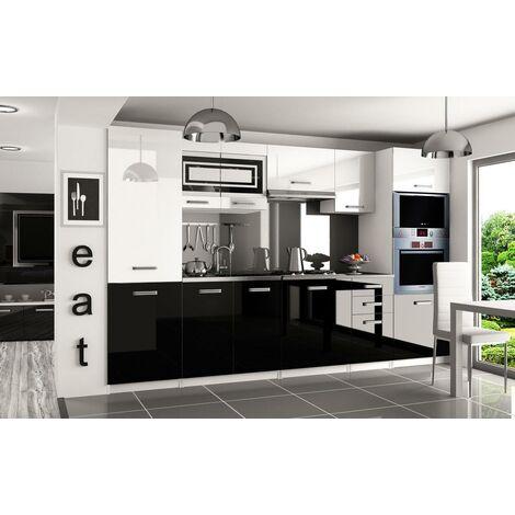 PRISMA | Cuisine Complète Modulaire + Linéaire L 300cm 8 pcs | Plan de travail INCLUS | Ensemble armoires meubles cuisine | Blanc-Noir - Blanc-Noir