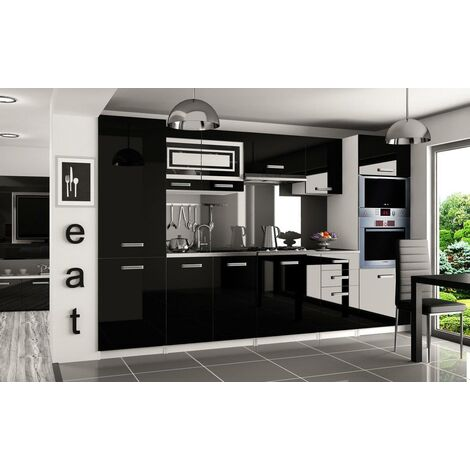 PRISMA | Cuisine Complète Modulaire + Linéaire L 300cm 8 pcs | Plan de travail INCLUS | Ensemble armoires meubles cuisine | Noir - Noir