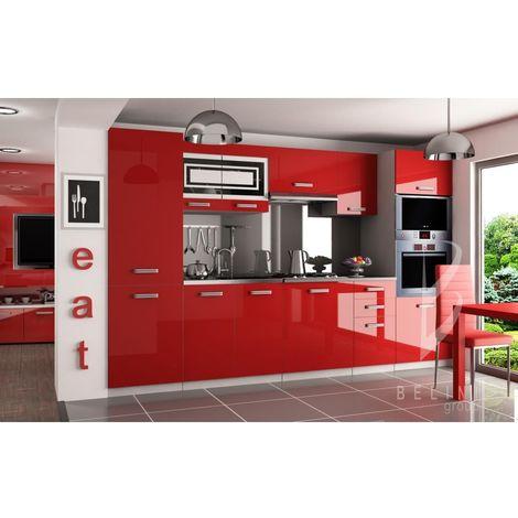 PRISMA | Cuisine Complète Modulaire + Linéaire L 300cm 8 pcs | Plan de travail INCLUS | Meubles colonnes four + frigo | Rouge - Rouge