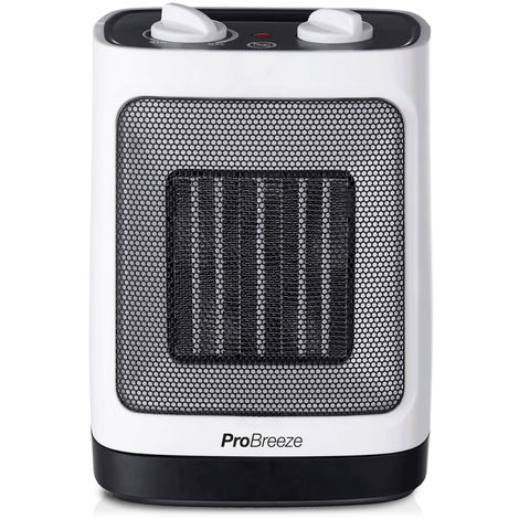 Pro Breeze 2000W Mini Ceramic Fan Heater – Automatic Oscillation and 2 Heat Settings, Lightweight & Portable