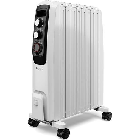 Pro Breeze 2000W Oil Filled Radiator with Built-in Timer, 3 Heat Settings, Thermostat and Safety Cut-Off