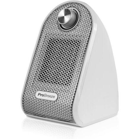 Pro Breeze Mini Radiateur Soufflant en Céramique PTC - Chauffage d'appoint portable et compact pour bureaux et tables - Blanc