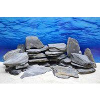 Pro Kiste Aquarium Deko Messerstein grau schwarz Natursteine 0,8-1,2 Kg Nr.48
