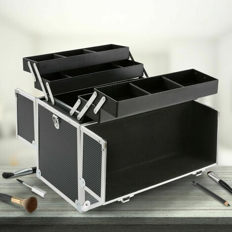 Pro Makeup Beauty Case Cosmetic Box Aluminium Beauty Case New Black