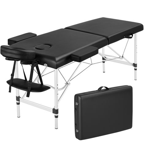 Pro Portable Massage Table, Lightweight Folding Facial SPA Bed Tattoo Beauty Therapy Couch Bed W/Carry Bag Black Aluminium 2 Sections