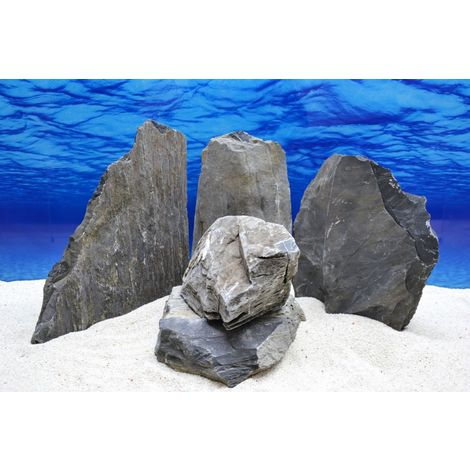 Pro Stein Aquarium Deko Messerstein grau schwarz Natursteine 4,5-5,5 Kg Nr.50