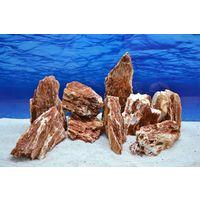 Pro Stein Aquarium Deko Samurai rot braun Laub Natursteine 2-3 Kg Nr.55