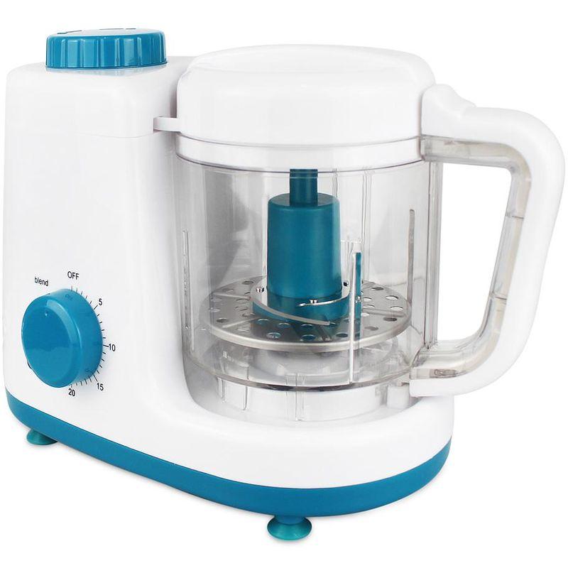 Procesador de Comida para Bebés, Robot Alimentos para Bebés, Blanzo/Azul, Función: Vaporera y Licuadora 2 en 1