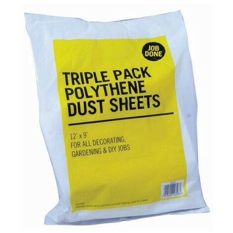 ProDec JTJDS3P Polythene Dust Sheets 3.6 x 2.7 Metre Pack of 3