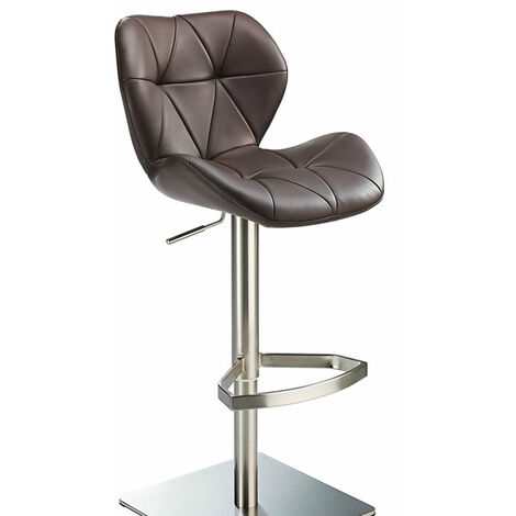Profane Real Leather Brown Bar Stool Brushed Steel Height Adjustable Square Base