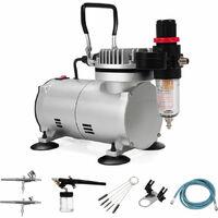 Professional Airbrush Compressor Kit Spray Gun Hose Air Brush Paint 23L 1/6 HP