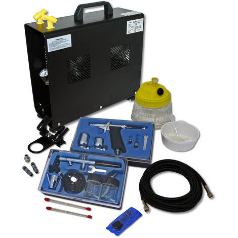 Professional Airbrush Compressor Set mit 2 Guns AS196A