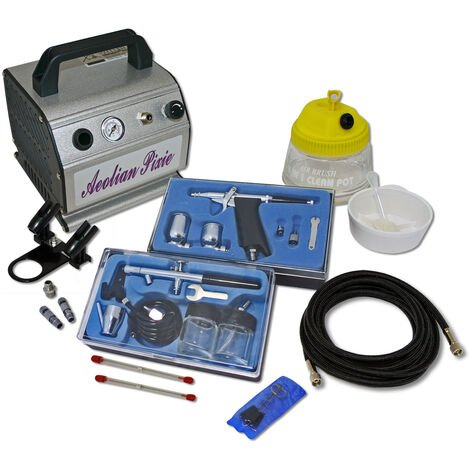 Professional Airbrush Compressor Set with 2 Guns AS176