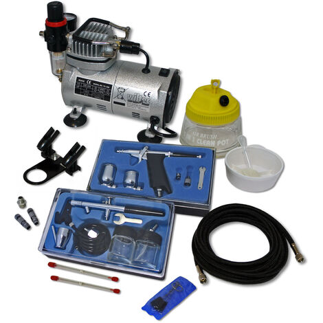 Professional Airbrush Compressor Set with 2 Guns AS18-2