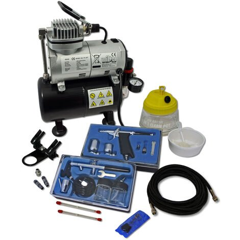 Professional Airbrush Compressor Set with 2 Guns AS186