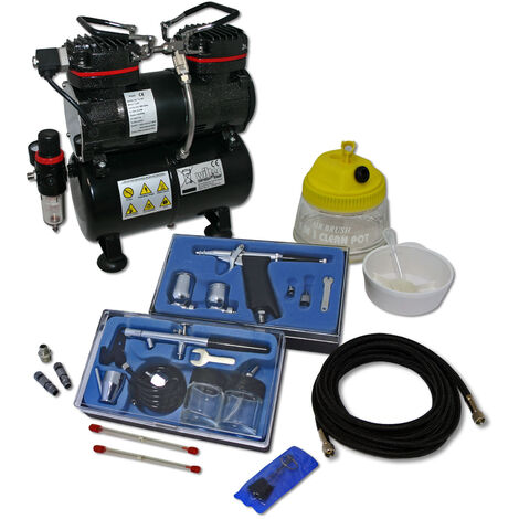 Professional Airbrush Compressor Set with 2 Guns AS196