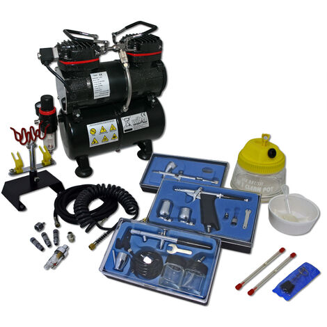 Professional Airbrush Compressor Set with 3 Guns AS196