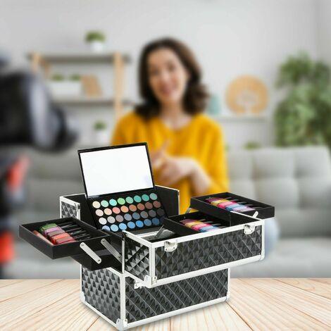 Professional Aluminium Beauty Make Up Nail Cosmetic Box Vanity Case Black
