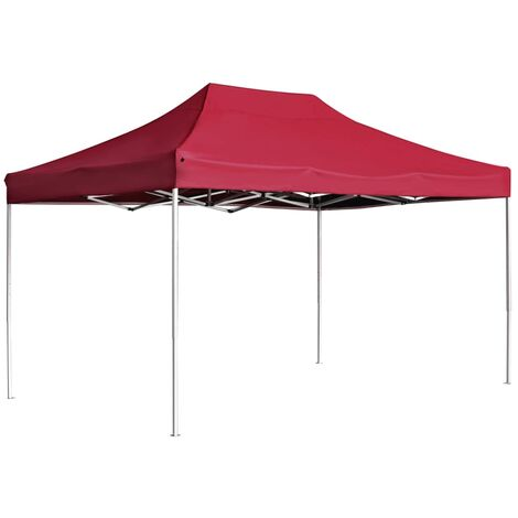 Professional Folding Party Tent Aluminium 4.5x3 m Wine Red