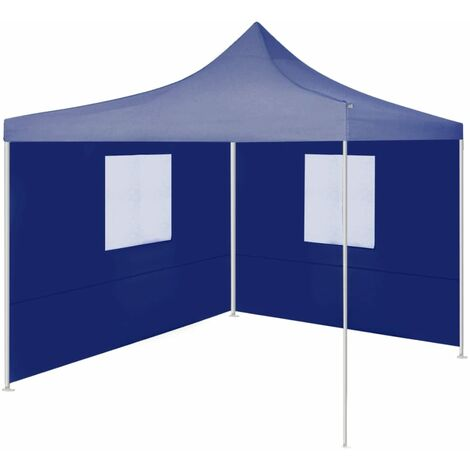 Professional Folding Party Tent with 2 Sidewalls 2x2 m Steel Blue