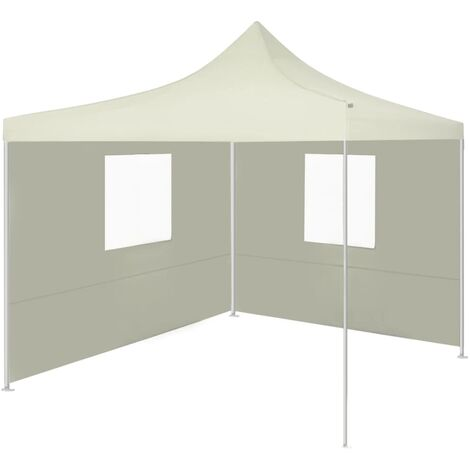 Professional Folding Party Tent with 2 Sidewalls 2x2 m Steel Cream