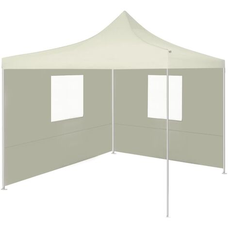 Professional Folding Party Tent with 2 Sidewalls 2x2 m Steel Cream - Cream