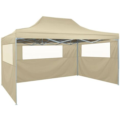Professional Folding Party Tent with 3 Sidewalls 3x4 m Steel Cream - Cream