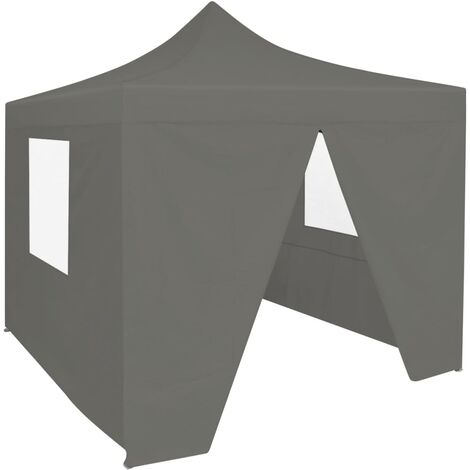 Professional Folding Party Tent with 4 Sidewalls 2x2 m Steel Anthracite - Anthracite