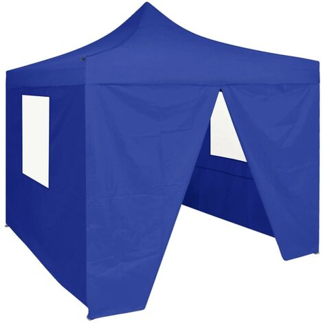 Professional Folding Party Tent with 4 Sidewalls 2x2 m Steel Blue