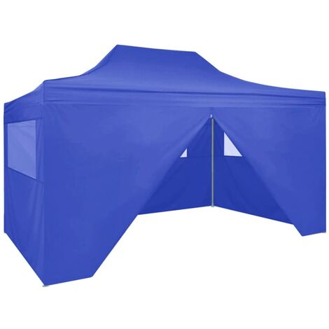 Professional Folding Party Tent with 4 Sidewalls 3x4 m Steel Blue