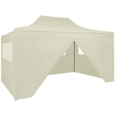 Professional Folding Party Tent with 4 Sidewalls 3x4 m Steel Cream