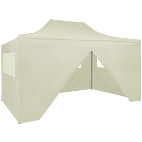 Professional Folding Party Tent with 4 Sidewalls 3x4 m Steel Cream - Cream