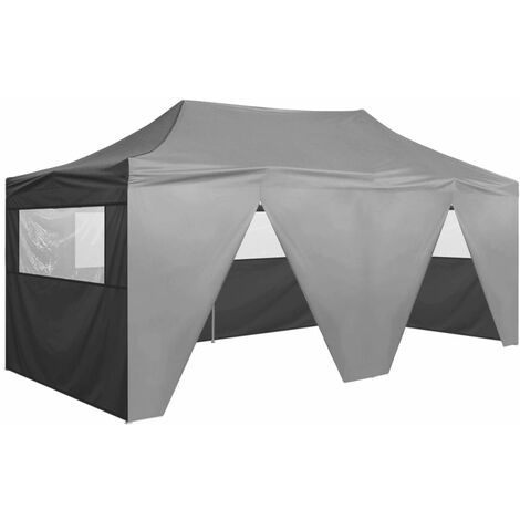 Professional Folding Party Tent with 4 Sidewalls 3x6 m Steel Anthracite