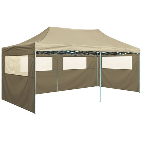 Professional Folding Party Tent with 4 Sidewalls 3x6 m Steel Cream