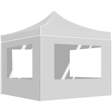 Professional Folding Party Tent with Walls Aluminium 3x3 m White - White