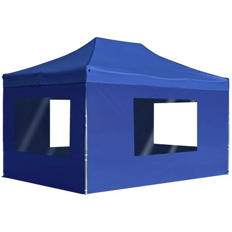 Professional Folding Party Tent with Walls Aluminium 4.5x3 m Blue
