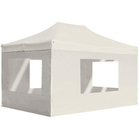 Professional Folding Party Tent with Walls Aluminium 4.5x3 m Cream