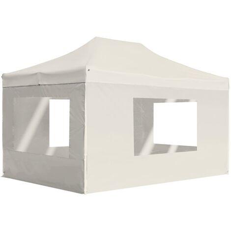 Professional Folding Party Tent with Walls Aluminium 4.5x3 m Cream - Cream