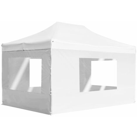 Professional Folding Party Tent with Walls Aluminium 4.5x3 m White