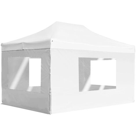 Professional Folding Party Tent with Walls Aluminium 4.5x3 m White - White