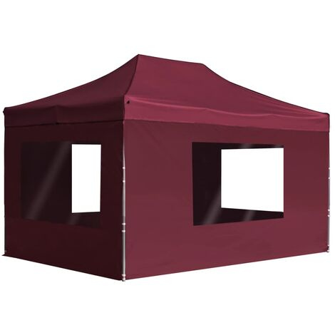 Professional Folding Party Tent with Walls Aluminium 4.5x3 m Wine Red - Red