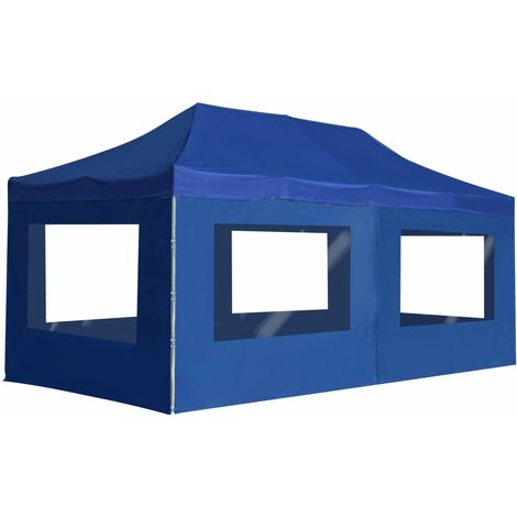 Professional Folding Party Tent with Walls Aluminium 6x3 m Blue