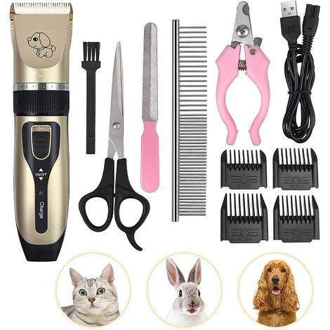 Professional Long Thick Haired Cat Dog Clipper Silent Electric Cordless Rechargeable Trimmer with Scissors and Comb