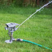 Professional Metal Impulse Garden Lawn Sprinkler with Water Sector Selection on Tripod Spike - XL