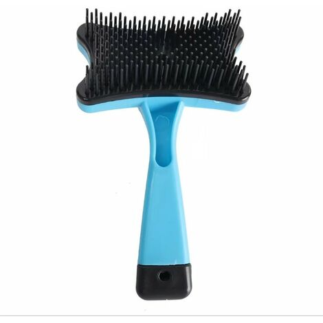 """main image of """"Professional Pet Friendly Brush, Self-cleaning brush, used to remove mucosities and fur, used for self-cleaning comb for dog and cat, blue pet combustion row cleaner"""""""